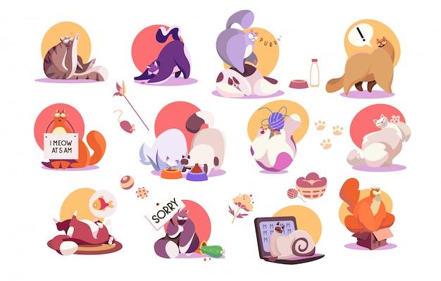 Insieme delle icone divertenti del gatto, illustrazione sveglia di vettore del personaggio dei cartoni animati dell'animale domestico