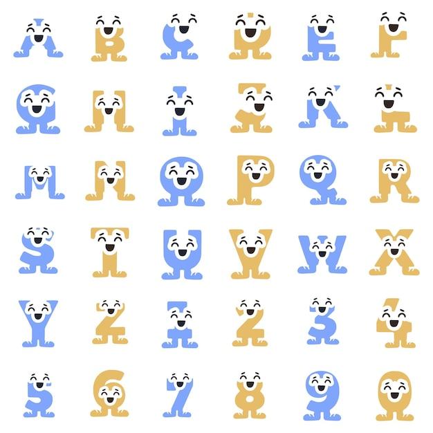 Un insieme di personaggi divertenti sotto forma di lettere e numeri in scarpe da ginnastica, clipart vettoriali.
