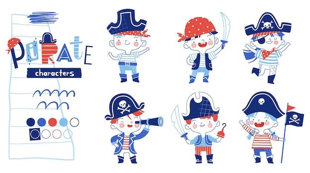 Set di bambini divertenti e allegri in costumi da pirata con una sciabola, un cannocchiale, una bandiera o un gancio