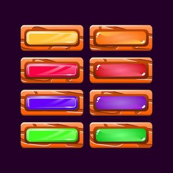 Set di divertente gioco colorato ui pulsante in legno e gelatina di diamanti per elementi di asset gui