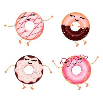 Una serie di ciambelle carine divertenti su sfondo bianco. icone dei personaggi in stile cartone animato.