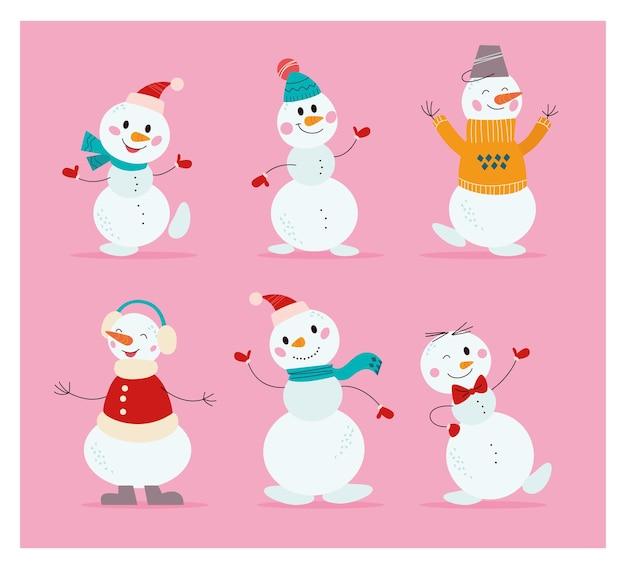 Set di divertenti personaggi di pupazzo di neve diversi con cappello, sciarpa, maglione, danza e onde isolate. piatto del fumetto di vettore. per biglietti, feste, inviti, striscioni, imballaggi, modelli.