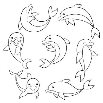 Set di delfini divertenti, pagina da colorare