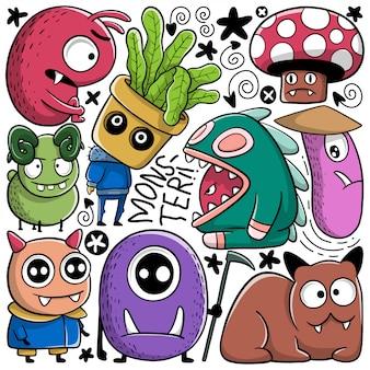 Set di mostri doodle disegnato a mano divertente