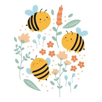 Set di api kawaii divertenti con fiori e foglie. illustrazione estiva per bambini.