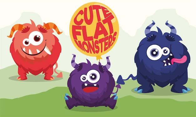 Set di personaggi di mostri divertenti