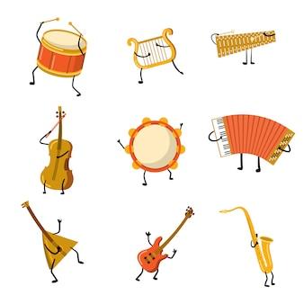 Set di personaggi divertenti strumenti musicali con mani e gambe