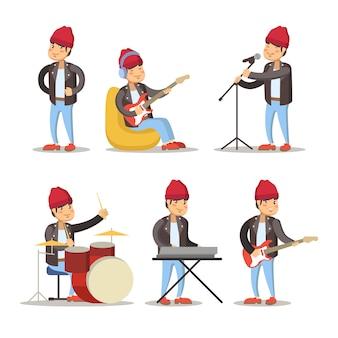 Set di divertenti musicisti cartoon