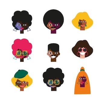 Set di volti di persone divertenti di personaggi della festa in discoteca degli anni '70 in discoteca