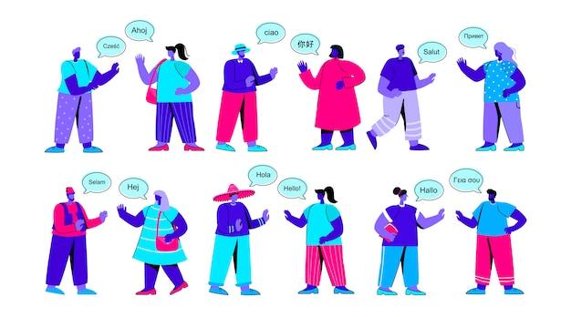 Insieme di persone divertenti dicendo ciao o saluto ogni personaggio piatto blu persone