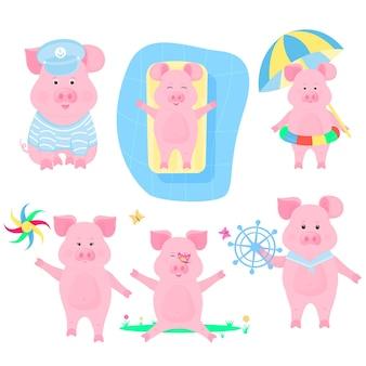 Un insieme di maiali divertenti. marinaio porcellino. pigling con salvagente e ombrellone da sole. maialino su un materasso gonfiabile in piscina. il cinghiale cammina con un giocattolo a forma di mulino a vento