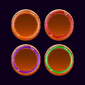 Set di divertenti pulsanti arrotondati in legno con bordo in gelatina ui per elementi di asset gui