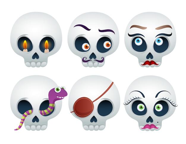 Set di teschi divertenti halloween isolato su bianco
