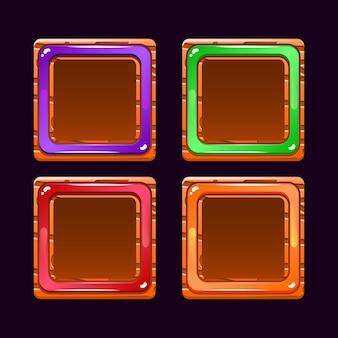 Set di divertenti ui di gioco con pulsanti di confine in gelatina di legno per elementi di asset gui