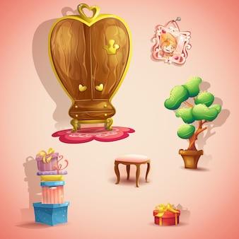 Un set di mobili e oggetti per la camera da letto della principessa delle bambole