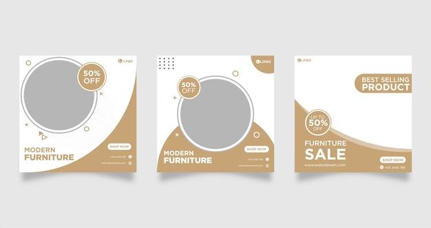 Set di modello di banner post social media vendita mobili.
