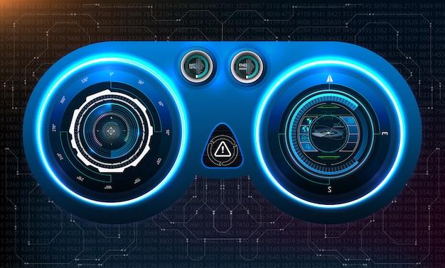 Set di futuristico infografica blu come display head-up. visualizza gli elementi di navigazione per il web e l'app. interfaccia utente futuristica. grafico virtuale. .