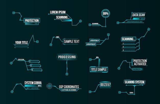 Set di etichette futuristiche della barra dei callout