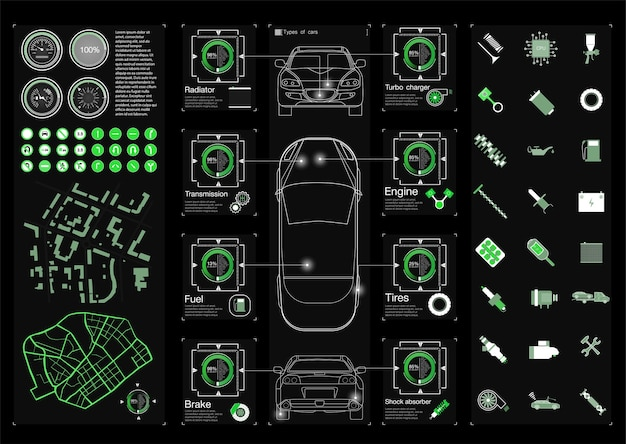 Set servizio auto futuristico, scansione e analisi dei dati auto. banner di auto intelligente