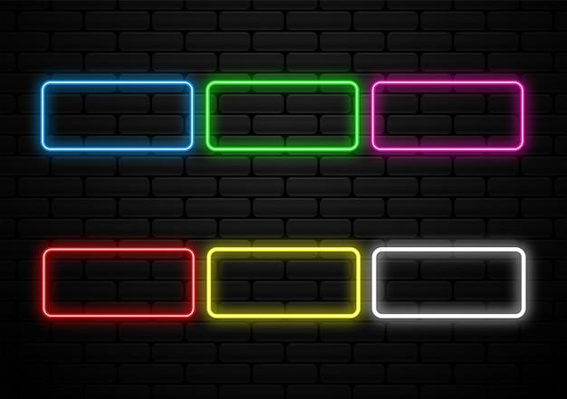 Set di forme futuristiche di luce al neon