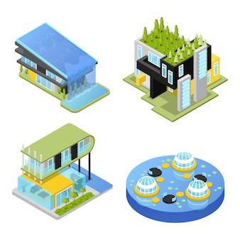 Insieme di case private futuristiche