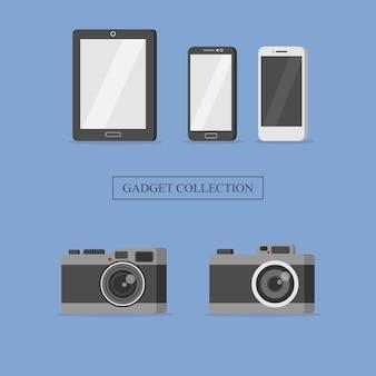 Set gadget handphone fotocamera mobili collezione illustrazione