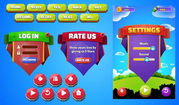 Set di pulsanti del menu delle risorse di gioco, schermate popup della schermata di sfondo e pulsanti delle impostazioni