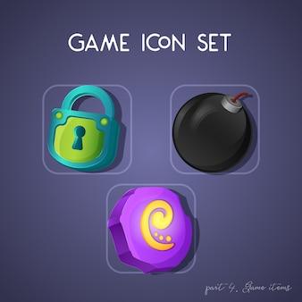 Set di icone di gioco in stile cartoon. oggetti: serratura, bomba e pietra runica. design luminoso per l'interfaccia utente dell'app.