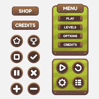 Set di selezione del menu di gioco per giochi di ruolo e avventura, inclusi menu, selezione di livelli e opzioni.
