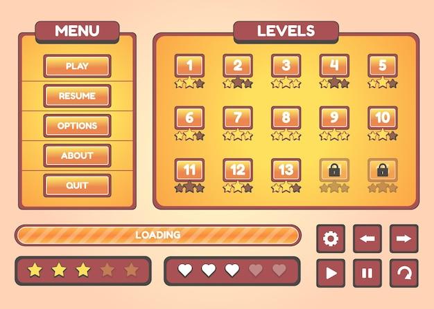 Set di selezione del menu di gioco per giochi di ruolo e avventura, inclusi menu, opzioni e selezione del livello