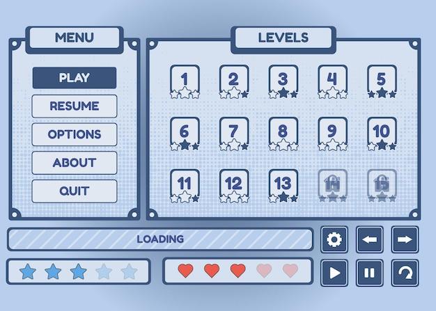 Set di selezione del menu di gioco per giochi di ruolo e avventura, inclusi menu, opzioni e selezione del livello Vettore Premium