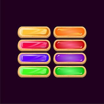 Set di gioco arrotondato diamante in legno e pulsante colorato gelatina