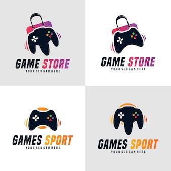 Insieme di disegno del modello di logo del negozio di giochi vector