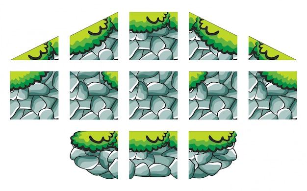 Set di set di giochi per creare lo sfondo del gioco isolato su bianco