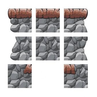 Set di gioco tileset per sfondo gioco isolato su bianco
