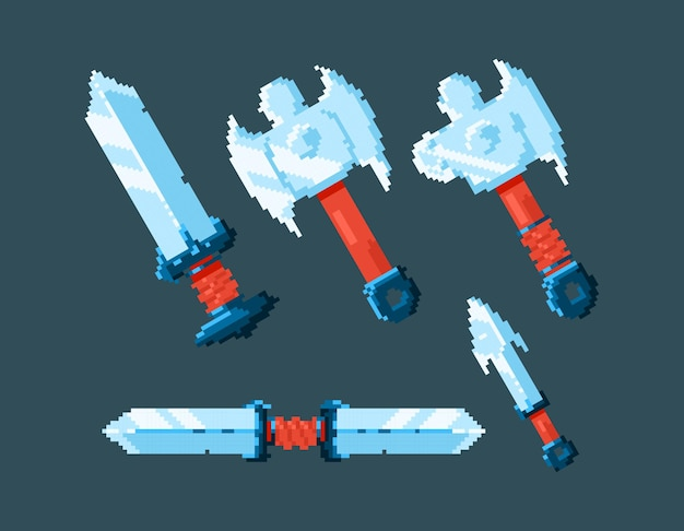 Set di design della spada della lama dell'interfaccia utente del gioco con stile pixel