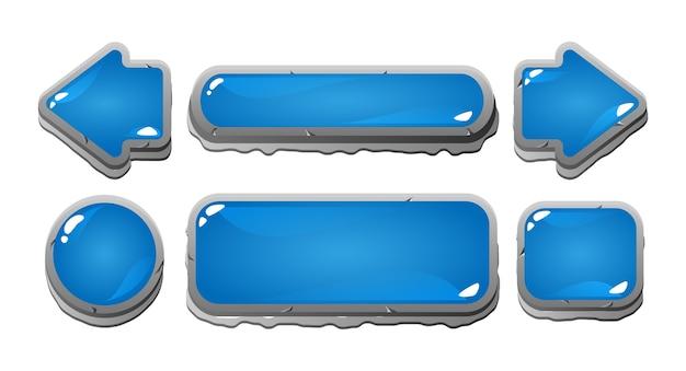Set di icone del pulsante di gelatina blu dell'interfaccia utente di gioco con bordo in pietra per elementi di asset gui