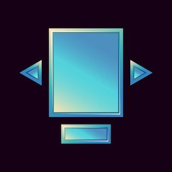 Set di modello pop-up del tabellone dell'interfaccia utente del gioco per gli elementi delle risorse della gui