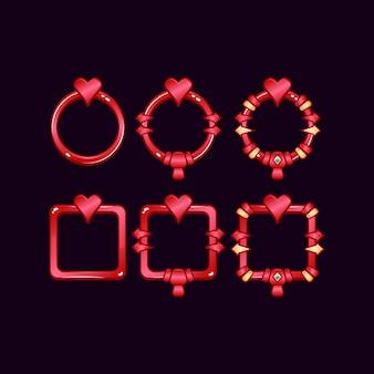 Set di frame di confine dell'interfaccia utente di gioco con il simbolo del cuore per gli elementi delle risorse gui