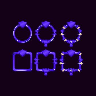 Set di frame di confine dell'interfaccia utente di gioco con simbolo scudo per elementi di asset gui