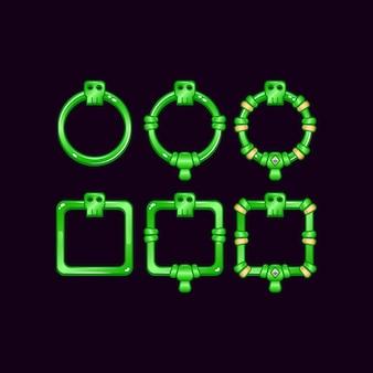 Set di frame di confine dell'interfaccia utente di gioco con il simbolo del teschio per elementi di asset gui