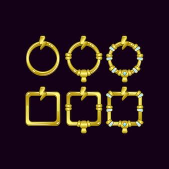 Set di frame di confine dell'interfaccia utente di gioco con il simbolo del tuono per elementi di asset gui