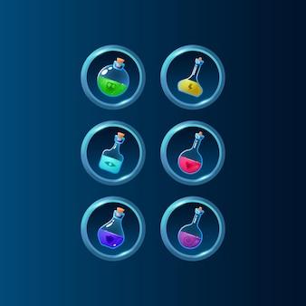 Set di potenziamento magico della bottiglia di pozione colorata dell'interfaccia utente del gioco con cornice lucida per elementi di asset gui