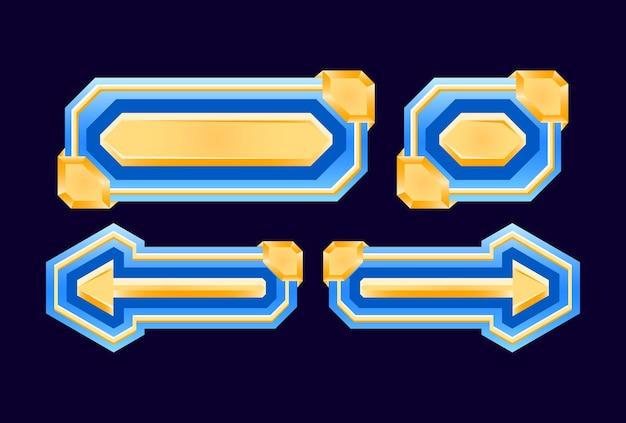 Set di diamante dell'interfaccia utente di gioco e pulsante dorato per elementi di asset gui