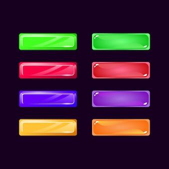 Set di pulsanti colorati di diamante e gelatina dell'interfaccia utente di gioco per elementi di asset gui
