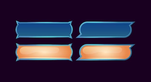 Set di pulsanti fantasy dell'interfaccia utente di gioco per elementi di asset gui