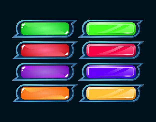 Set di pulsanti di gioco ui fantasy diamante e gelatina colorfull per elementi di asset gui