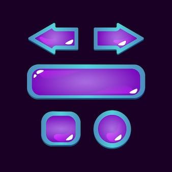 Set di pulsanti di gelatina fantasy dell'interfaccia utente di gioco con tema rpg per elementi di asset gui