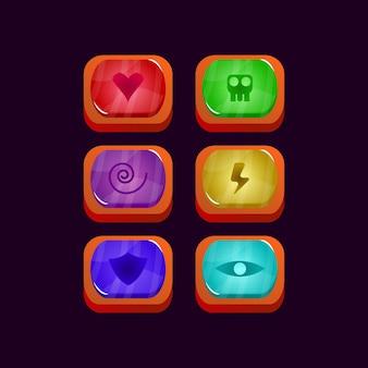 Set di elementi di asset gui gelatina colorata lucida dell'interfaccia utente del gioco