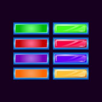 Set di diamante lucido dell'interfaccia utente di gioco e pulsante colorato gelatina per elementi di asset gui